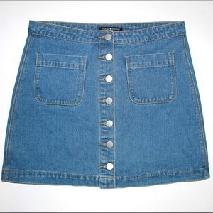 Brandy Melville Denim 70s Inspired Mini Skirt